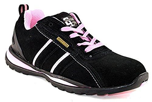 Trainer Wildleder Stiefel (Damen Ottawa Sicherheit Stahlkappe Arbeit Trainer Northwest Territory Stiefel Damen Schuhe Schuh leicht ölbeständig EVA dämpfenden Einlegesohle Schnürschuh Stylisch und modisch bequem, Schwarz - Black/New Pink (Grafters) - Größe: 39)