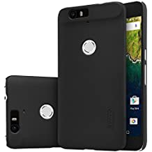 Funda Huawei Nexus 6P, Nillkin [Anti-Slip] [Perfect Fit] Frosted Super Slim Matte Hard Cover Case carcasa de piel, Protectores de pantalla juntos - Negro