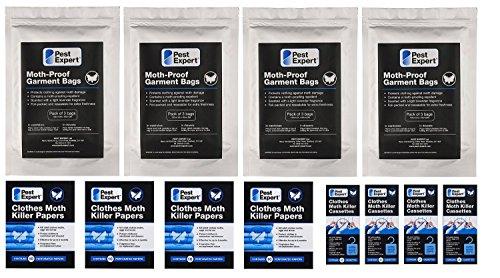 Kit 3 de protection contre les mites de vêtements dans les garde-robes (4 garde-robe doubles / 8 grand tiroirs) de Pest Expert. Produit de qualité professionnelle.