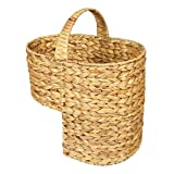 woodluv Water Hyacinth Stair Step Storage Basket with Handle, Large