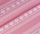 Norweger Jacquard Jersey Bio-Stoff Baumwolle kba GOTs Winter Weihnachten Schnee (Rosa)