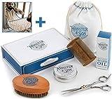 Monster&Son Kit de Cuidado de Barba   Aceite para Barba   Bálsamo para Barba   Cepillo para Barba   Peine de Barba   Tijeras   Caja de Regalo