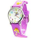 Willis Unisex Kinderuhr Mehrfarbig Student 3D Cartoon Uhr Größes Zifferblatt Armbanduhr Gummi Band Sportuhren für Jungen Mädchen Kinder-Lila Prinzessin