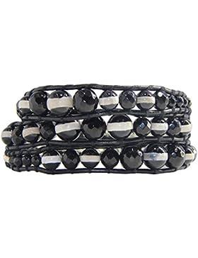 KELITCH Schwarz Onyx Perlen Abgestufte Strangarmbänder Armband Schwarz Leder Armbänder