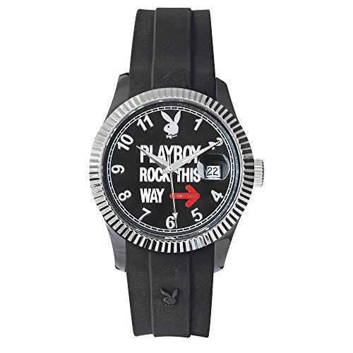 -Rock-Armbanduhr-Quarz Analog-Zifferblatt schwarz Armband Silikon Schwarz ()