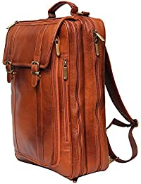 Leather Villa Leather LV Backpack Bag Cum Office Bag for Men |15.6'' Laptop Compartment| |Expandable Features| |Casual Stylish Backpack| Color