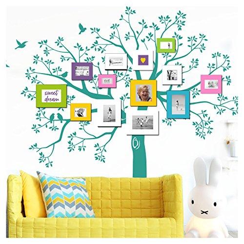 Grandora W5482 Wandtattoo XXL Baum I Türkis (BxH) 130 X 125 Cm I Vögel  Wohnzimmer Flur Aufkleber Wandsticker Selbstklebend Wandaufkleber