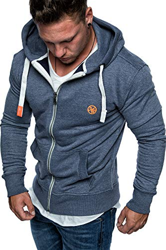 Amaci&Sons Herren Zipper Kapuzenpullover Sweatjacke Pullover Hoodie Sweatshirt 1-04029 Blau M