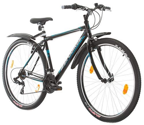 Multiband, PROBIKE Pro 29, 29 Zoll, 483 mm, Mountainbike, Unisex, 21-Fach Shimano, Kotflügel Vorne und Hinten, Weiß Rot-Blau (Schwarz/Grau-Blau (Kotflügel))