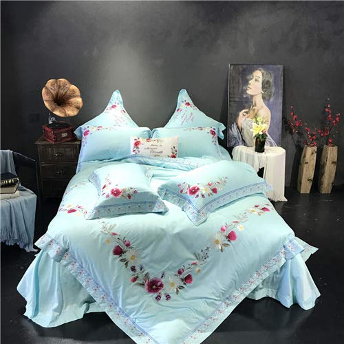 RONGXIE Egypt Cotton Satin Blossom Fragrance Luxury Bedding Set Embroidery Duvet Cover Set Bed Sheet Pillowcase Queen King Size (Sheet Set Queen-size Bed)