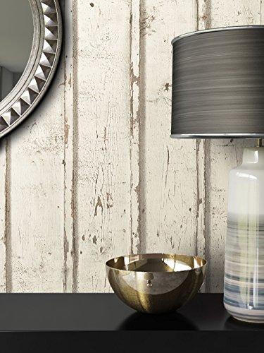 Tapete Vlies Antik Holz Muster in Creme Weiß   schöne edle Tapete im Antikholz Design   moderne 3D Optik für Wohnzimmer, Schlafzimmer oder Küche inkl. Newroom-Tapezier-Profibroschüre mit super Tipps!