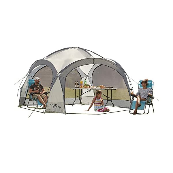 Garden Gear Outdoor Event Dome Shelter Party Tent UV Protection with 4 Removeable Mesh Walls, 2 Removeable Sun Shade Walls Measures L363.5 x W361 x H235.5cm (Silver) 1