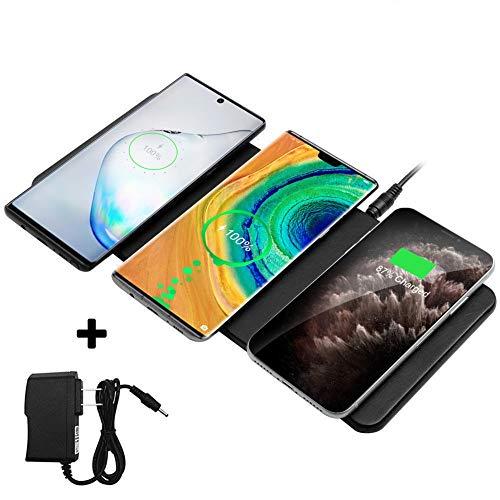 Zealsound Caricabatterie Wireless Qi Dispositivi Multipli, Tripli Dispositivi Caricabatterie wWreless in Pelle Premium Solo per iPhone / Huawei P20 Pro / Samsung e Tutti i Telefoni Abilitati al Q