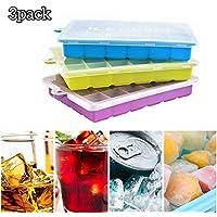 Wuudi Cubitera de silicona, 3 unidades, con tapa, 72 compartimentos para cubitos de hielo, cubitos de hielo para familia, alimentos para bebés, chocolate, fiestas y bares