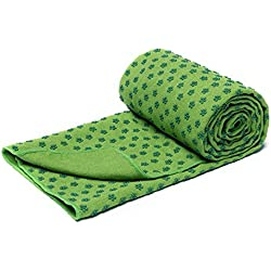 Secado rápido antideslizante estera de Yoga toallas con malla bolsa de transporte, extra larga (62 x 183 cm/24.4inchesx72inches) Dot Grip Bikram Yoga Mat Toalla, grass green