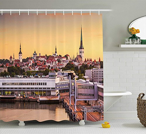 Urban Shower Curtain by, Tallinn Old City from The Port Baltic Sea Estonian Gothic Town Cathedrals Panorama, Fabric Bathroom Decor Set with Hooks, 66x72 inches Extra Long, Multicolor