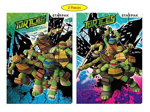 2 x Kinder Ordner Mappe Sammelmappe Heftmappe Zeichenmappe Ablage mit Gummizug Gummiband DIN A4 wählbar: Avengers Turtles Hot Wheels Transformers Cars Paw Patrol Geschenk für Jungen (Ninja Turtles)