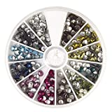 Rayher 38641999 Hotfix-Nieten, 4 mm, Sortierbox 600 St., 12 Farben je 50 St., bunt