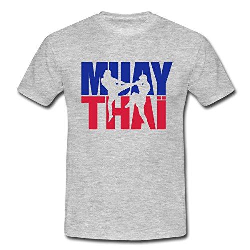 Spreadshirt Muay Thai Thaiboxen Männer T-Shirt, M, Grau meliert (Thai-art Muay)