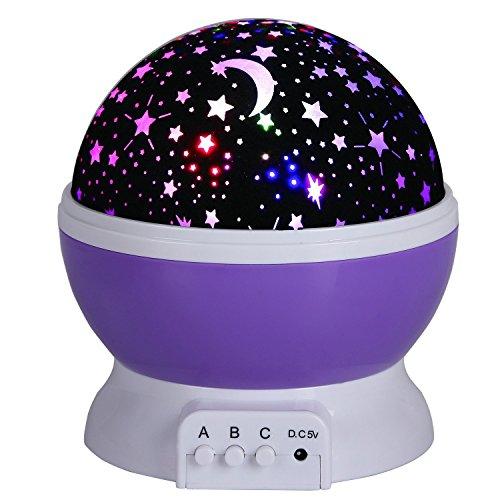 Etoiles Projecteur,KINGCOO 360 Projection Degré Lune Étoile Rotation Veilleuse Chevet Veilleuse Virevoltant Lampe de Table Projecteur Plafonnier pour Salle d'enfant cadeaux de Noël (Violet)