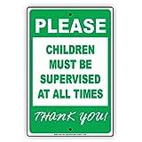 Bitte Kinder müssen beaufsichtigt, alle die mal Thank You. Aluminium Schild Blechschilder Vintage Zinn Teller Zeichen Deko Schild 12x 18