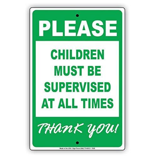 Si prega di bambini deve essere controllato all the times Thank You. Alluminio cartello in metallo vintage segni di latta...