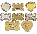 Engraved Diamante Bling Pet ID Dog Tags, Contrasting Text, Heart or Bone Pet tag (Silver Bone Pet Tags, Both Sides Engraved)