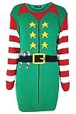 Oops Outlet Damen Weihnachten Weihnachtsmann Helfer Weihnachtselfe Stars Bedruckt Kostüm Vollen Streifen Ärmel Gestrickt Minikleid - Jadegrün, Übergröße (52/54)