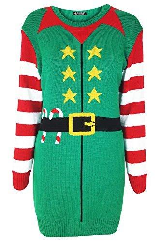 Oops Outlet Damen Weihnachten Weihnachtsmann Helfer Weihnachtselfe Stars Bedruckt Kostüm Vollen Streifen Ärmel Gestrickt Minikleid - Jadegrün, Übergröße - Übergröße Damen Elf Kostüm
