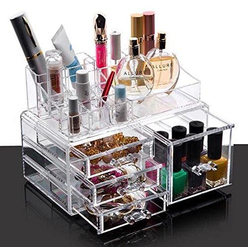 ENYAA, organizer ed espositore in acrilico trasparente con cassetti, per cosmetici, trucchi, smalti, gel, oggetti per il bricolage, pennelli e gioielli, 5 drawar