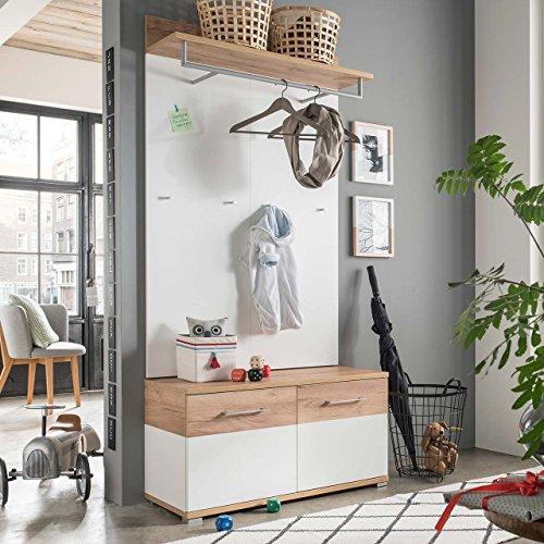 lifestyle4living Garderoben-Set, Garderobe, Flurgarderobe, Diele, Schuhschrank, Garderobenschrank, Paneel, Hutablage, Schrank, Spiegel, weiß, Navarra, Eiche, 2-TLG.
