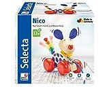 Selecta 62026 Nico, Nachzieh Hund, Schiebe-und Nachziehspielzeug aus Holz, 12 cm
