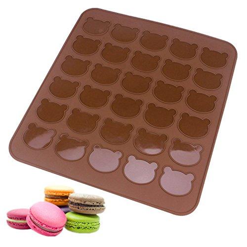 beicemania Macarons Backmatte Silikon BPA Frei 30 Bär für Macarons Makronen Keks Cookies