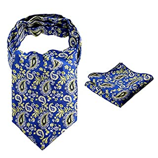 Alizeal Men Self-tied Floral Cravat And Pocket Square Set, Royal Blue+Yellow