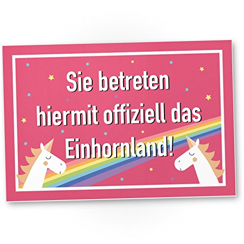 DankeDir! Sie betreten offiziell Das Einhornland - Kunststoff Schild, Süße Wand-Deko, Türschild Mädchen Wohnung, Geschenkidee/Geburtstagsgeschenk Freundin, Süße/lustige Deko