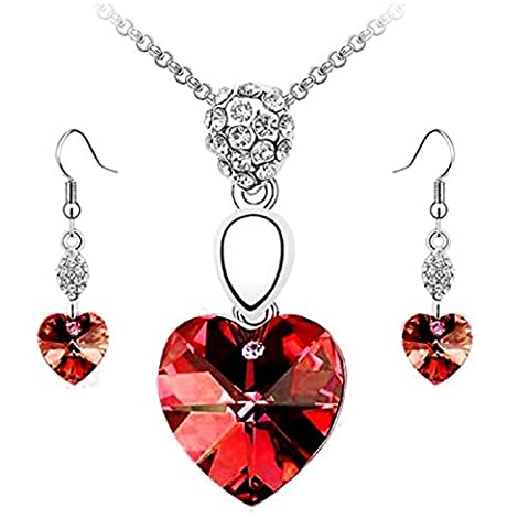 Rcool Women Girl Fashion Heart Crystal Rhinestone Silver Chain Pendant Necklace Choker Earring Jewelry Set (Red)