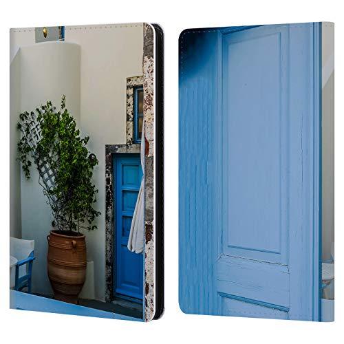Head Case Designs Ufficiale Haroulita Porta Blu Santorini Strade Cover in Pelle a Portafoglio Compatibile con Kindle Paperwhite 1/2 / 3