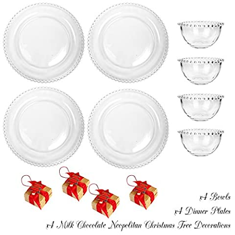 Bella Perle Dinner Party Service for Four - Four settings of Dinner Plate and Bowl - Gift Set with Four 20g Luxury Mint Chocolate Parcels - High Quality Luxury Glassware with Beaded Edge - As Used By Nigella Lawson - Perfect for Christmas/Boxing Day/New Years Dinner Party Setting for Four -