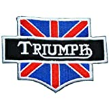 Ecusson brode patch Triumph Motorcycles UK Flag Vintage Bikes Racing Team Jacket Embroidered Iron or Sew on Patch by wonderfullmoon