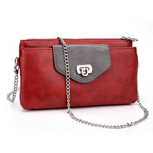 Kroo Pochette Portefeuille en Cuir de Femme avec Bracelet double Étui pour Sony Xperia C3 noir - Noir/rouge rouge - Red and Grey