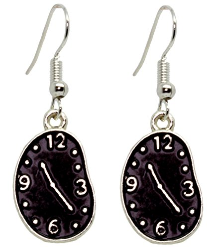 Bluebubble TICK TOCK Black Face Melting Clock Earrings