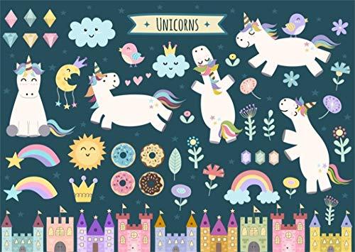vrupi 5x3ft Unicorns Backdrop Dramy Sky Plants Sun Rainbow Flowers White Unicorn Background Cartoon City Skyline Night View Cute Girls Princess Birthday Vinyl Photo Background Studio Props