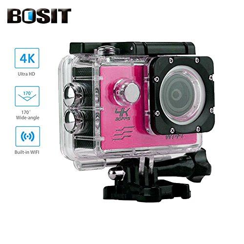 Bosit SJ4000azione Camara, cinturino 2.4G Wireless RF telecomando, 4K HD Sports Action Camera, 12MP WiFi impermeabile camera 170gradi di angolo di vista largo 5,1cm schermo LCD/19Accessori kits- giallo, ROSE RED