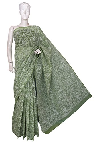 ADA Hand Embroidered Lucknow Chikan Cotton Saree (A232480_Green)