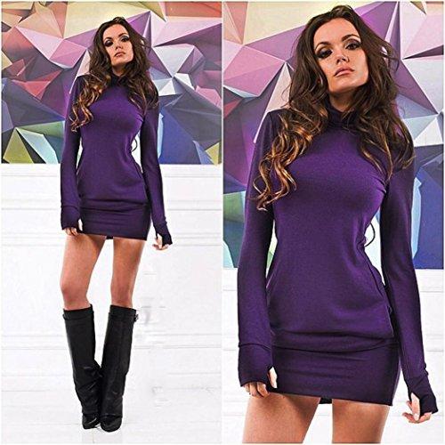 Coloré TM Femmes Tops Hiver Blouse Sexy Pull-Over Sweater Femme T-Shirt Haut Longue Manche Sexy Femmes Moulante Manches Longues Soirée Mini Robe Courte Violet