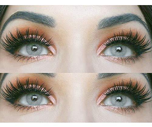 Farbige Graue Kontaktlinsen 'Jasmine Light Gray' Ohne Stärke Grau + Behälter von Glamlens, weiche 3-Monatslinsen im 2er Pack