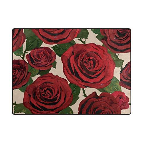 DEZIRO Tapis de Sol antidérapant, Motif Roses Rouges, Polyester, 1, 80 x 58 inch