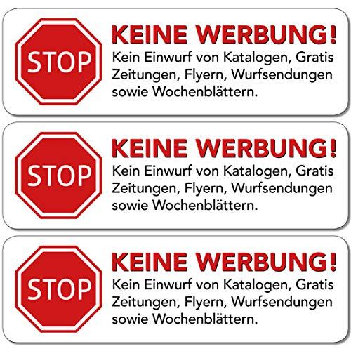 ber 10 STK in weiss - Schild - Folie - Sticker (STOP Bitte keine Kostenlose Zeitung, Reklame, Flyer, Handzettel, Wurfsendungen, Werbung einwerfen, etc.) für den Briefkasten ()
