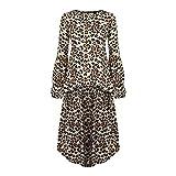Damen Leopard Gedruckt T-ShirtsAsymmetrischer Saum Bluse Laterne Ärmel Oberteile