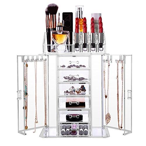 HBF Organizador De Maquillaje Acrílico Transparente Multifuncional Organizadores Para Cosméticos Caja Para Organizar Pincel De Maquillaje Esmalte De Uñas Lápiz Labial Exhibición De Joyas Collares(6 cajones+16compartimientos+ gancho de collar)